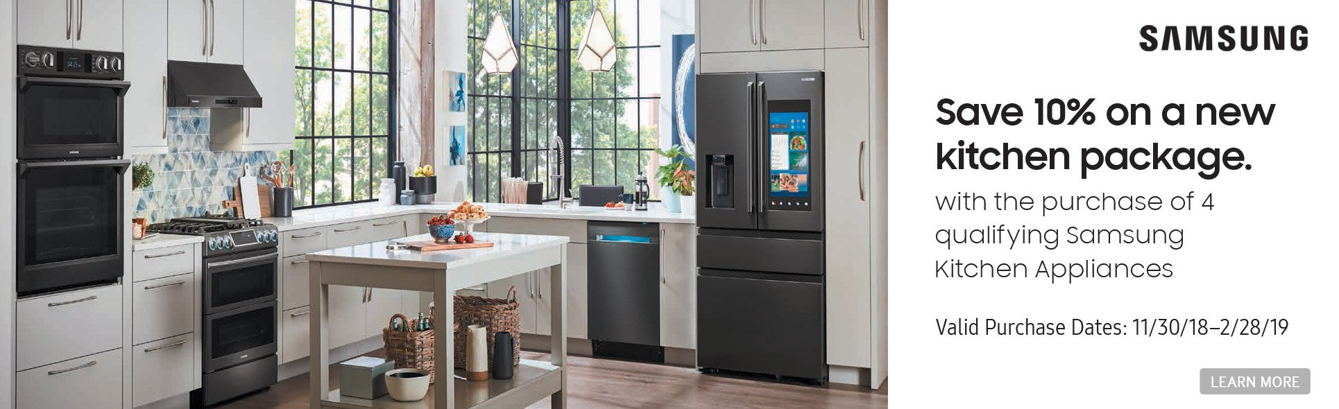 Samsung save 10% on new kitchen package